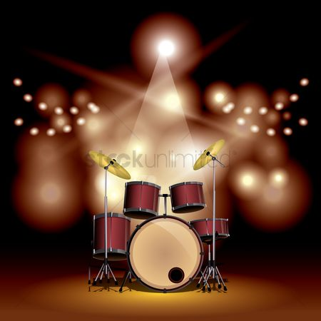 Drums : Drum set on a stage