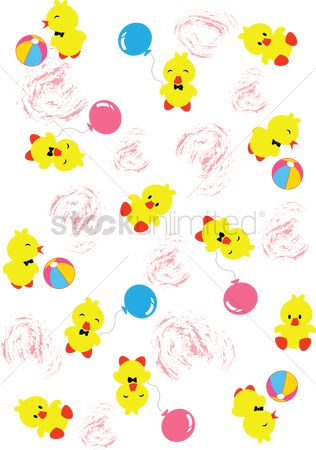 Background : Duck with balloon and ball background