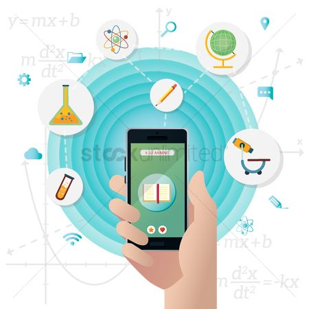 Biology : E learning on mobile phone concept