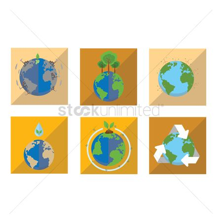 Pollutions : Earth conservation icons