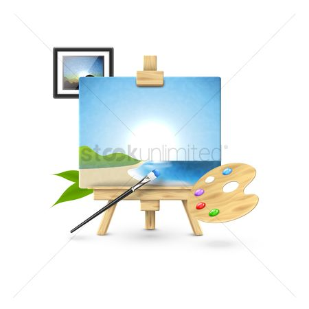 Palette : Easel with palette and photo frame