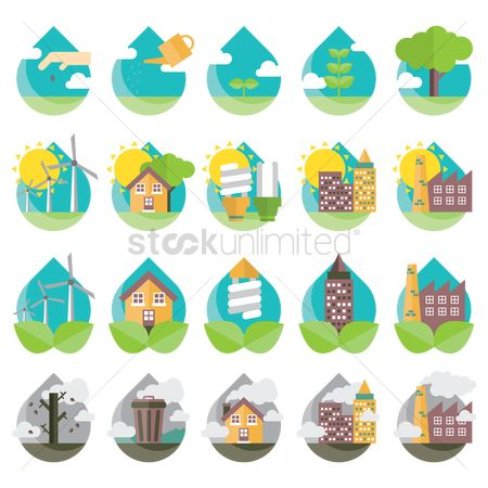 Pollutions : Ecofriendly icons