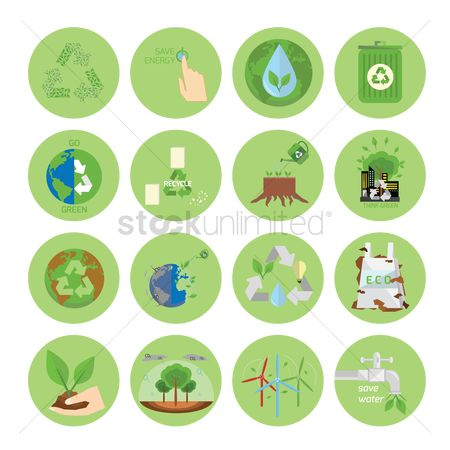 Power button : Ecology and recycle icons
