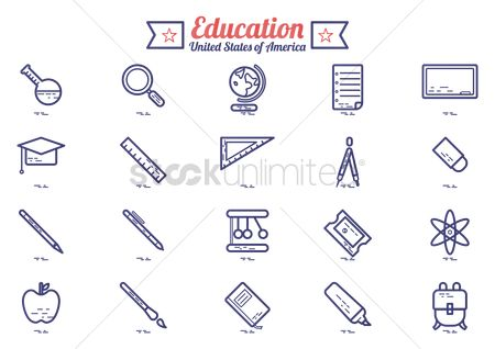 America : Education icons set