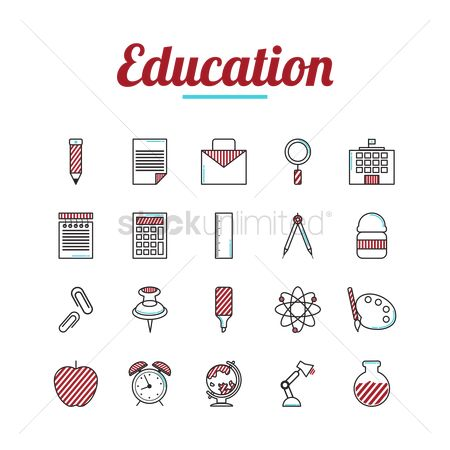 Researching : Education icons set