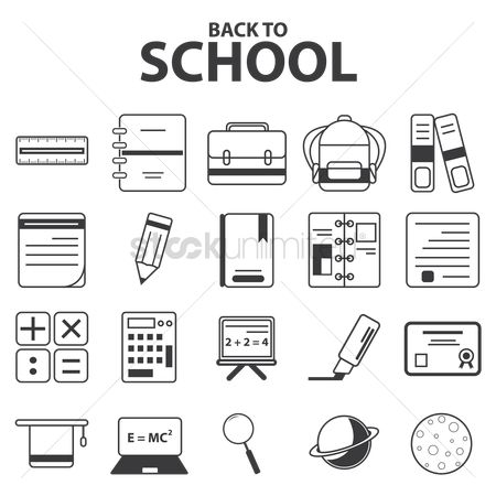 School bag : Educational icons