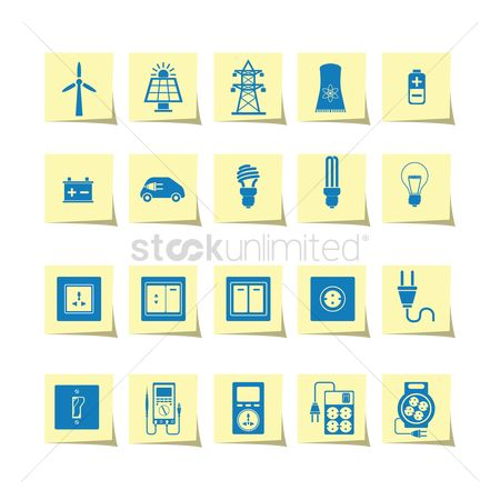 Production : Electrical power and appliance icon set