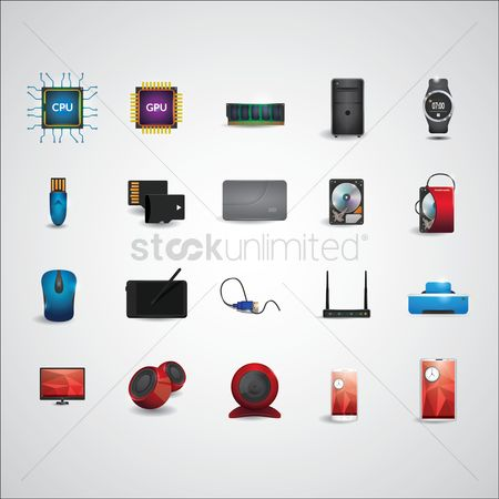 Mouse pad : Electronic device icon set
