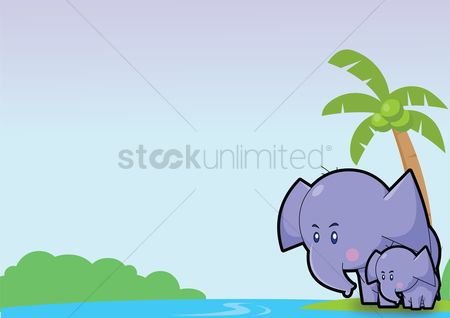 Grass background : Elephant over a sky background