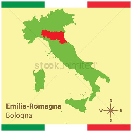 Highlights : Emilia-romagna on italy map