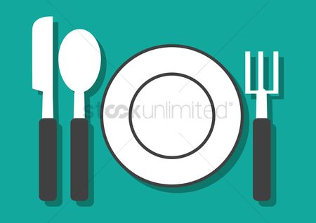 Dinner : Empty plate with knife spoon and fork