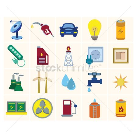 Petroleum : Energy power icon set