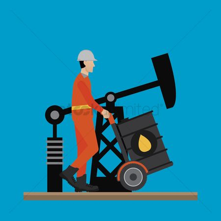 Oil drum : Engineer pushing an oil barrel