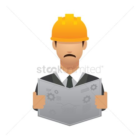 Hard hat : Engineer with blueprint