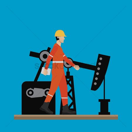 Fuel : Engineer with oil refinery pump