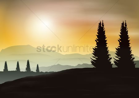 Alps : Evening mountains and sunset