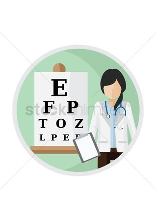 Doctor : Eye test chart and doctor