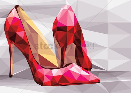 Footwear : Faceted high heels