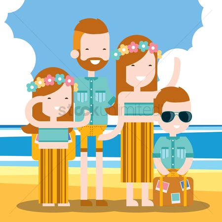 Touring : Family holidaying on beach