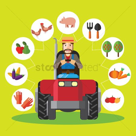 Carrots : Farmer driving tractor