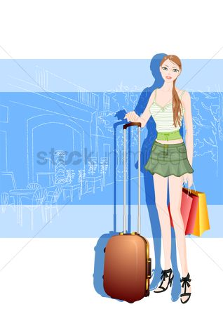 Cafe : Fashionable woman with trolley bag