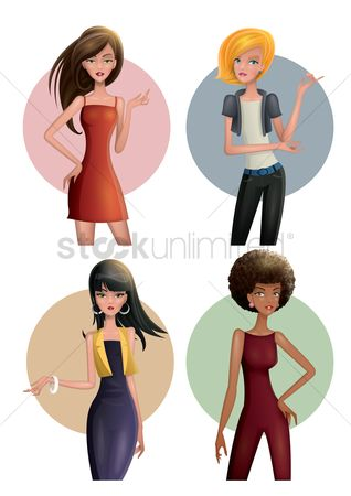 Cartoon : Fashionable women set