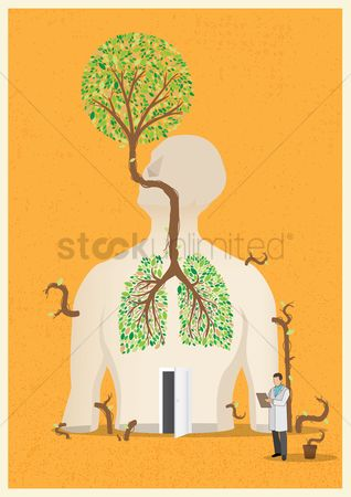 Pollution : Figure of human anatomy with tree concept