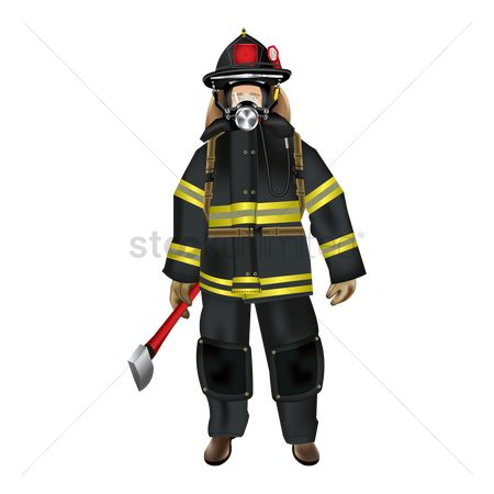 Fire extinguisher : Firefighter holding axe