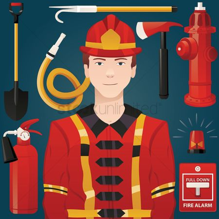 Fire extinguisher : Firefighter with equipment