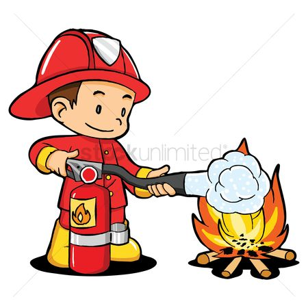 Fire extinguisher : Fireman to the fire fighting