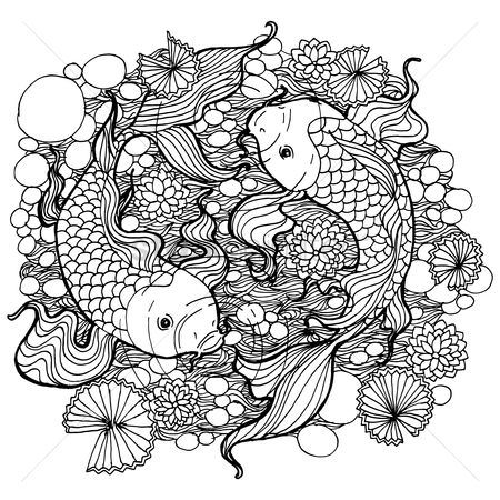 Styles : Fish and lotus leaves design