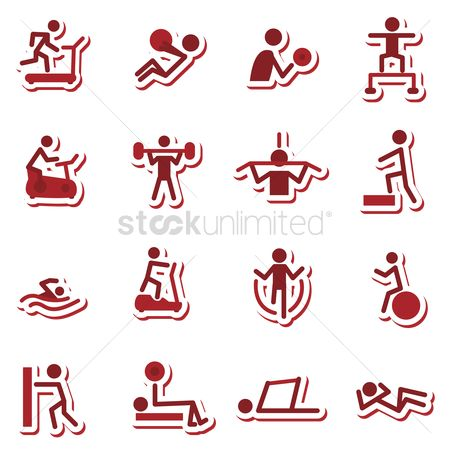 Treadmill : Fitness work out icons