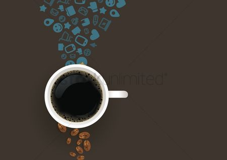 Heart shape : Flatlay of coffee with social media icons