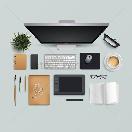 Technology : Flatlay of computer desk