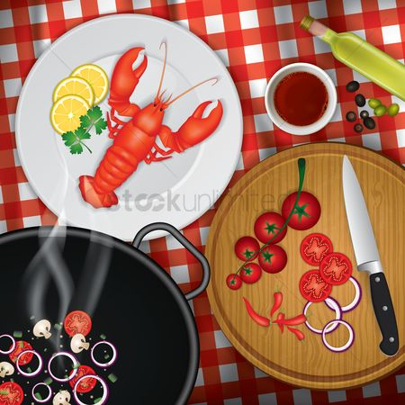 Cloth : Flatlay of dishes