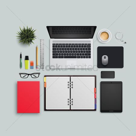 Notebooks : Flatlay of office desk and equipment