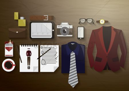 Lighter : Flatlay of stylish attire