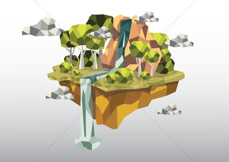 Islands : Floating island with waterfall