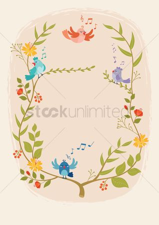 Melody : Floral and birds design