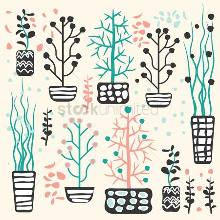 Flower pot : Floral background design