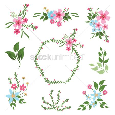 Spring : Floral decoration icons pack