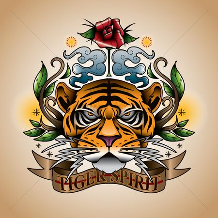 Spirit : Floral design with tiger spirit text