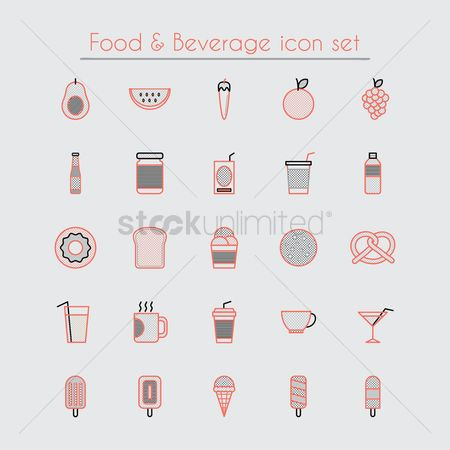 Watermelon : Food and beverage icon set