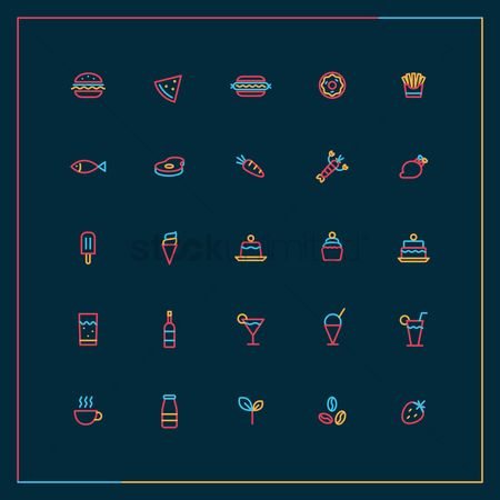 French : Food and beverage icon set