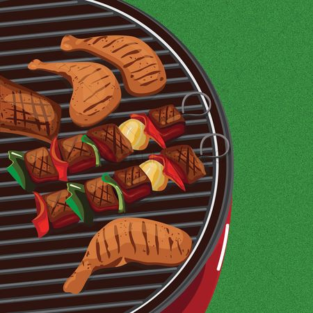 Chicken : Food on barbecue grill