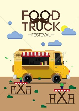 Vectors : Food truck festival poster design