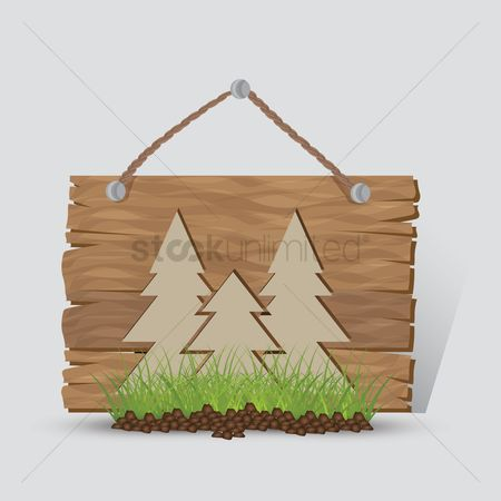 Wooden sign : Forest sign