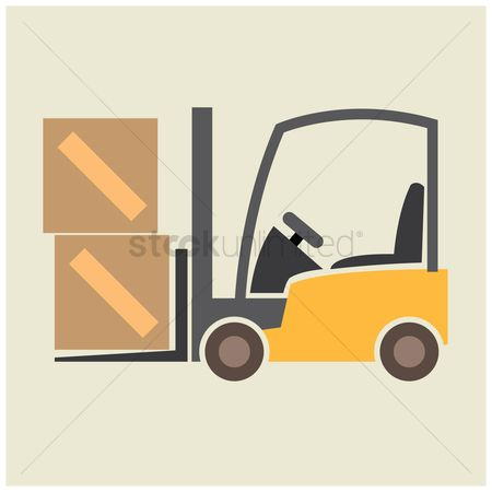Fork lift : Fork lift with cardboard boxes