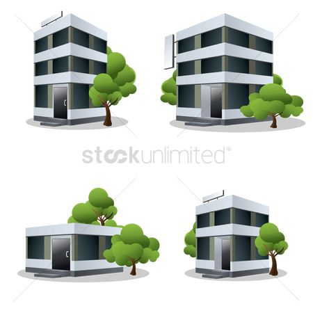 Building : Four office buildings with trees