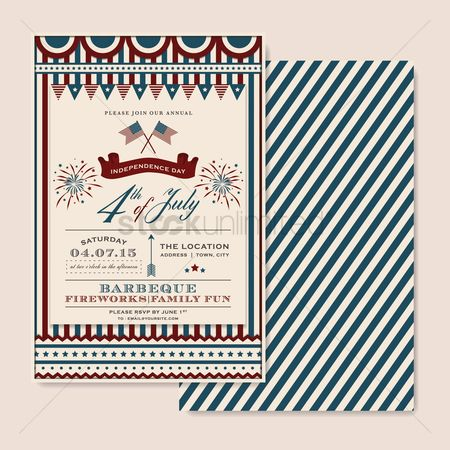 Patriotics : Fourth of july independence day barbecue invitation